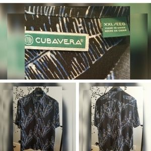 Men's Cubavera Black Hawaiian- style Shirt XXL